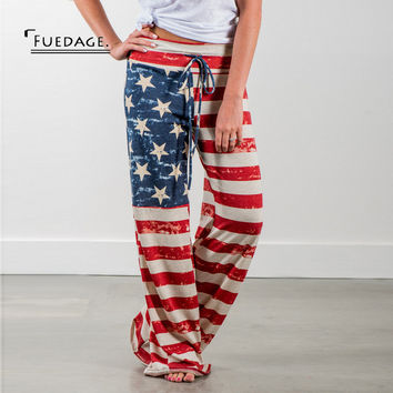 Fuedage  Fashion  Pants USA American Flag Sweatpants Stars And Stripes Long Pants Full Length Loose Comfortable Trousers