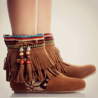 Tribal Fringe Ankle Boots Moccasin Indian Booties Aztec Rustic Fashion Trend from Milly Kate