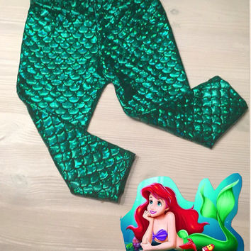 Mermaid Leggings capris Toddler Fish Scale Print Green Mermaid baby leggings mermaid scale girly baby clothes with headband
