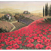 Tuscan Poppy Landscape Tapestry Wall Hanging