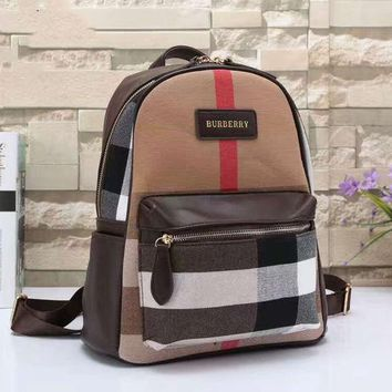 Kalete BURBERRY Women Shopping Leather Metal old plaid Backpack  Brown