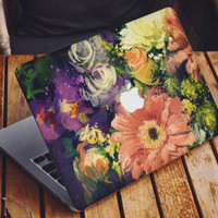 Oil painting vintage watercolor flowers MacBook skin decal laptop sticker vinyl decal