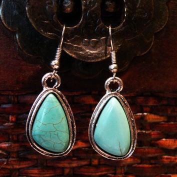 Simple turquoise earrings