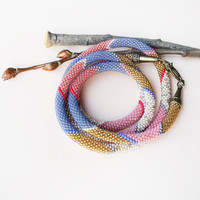 Long bead crochet necklace, rope - Gold Pink Blue Beadwork