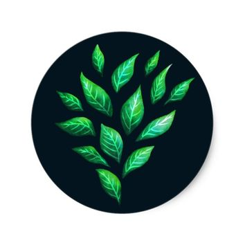 Abstract Ink Painted Green Leaves Classic Round Sticker