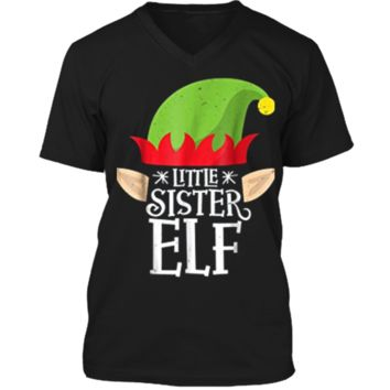 Little Sister Elf Christmas Matching Family Pajamas Mens Printed V-Neck T