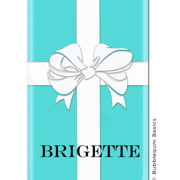 CUSTOM iPhone 5 4s 4 Samsung Galaxy s3 siii Phone Case - Blue Gift Box White Ribbon Bow Name  - 3 Letter Initials Monogram Personalized