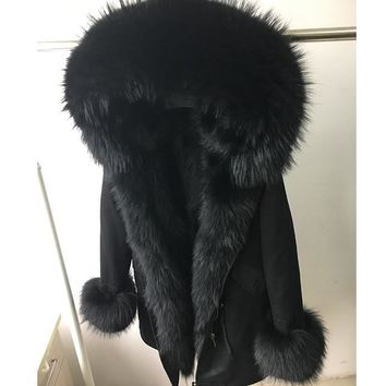 Raccoon Fur coat Parkas Winter Jacket Coat for Women