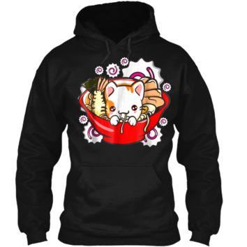 Cute Kawaii Cat Ramen Bowl Japanese Anime Kitten Tee Pullover Hoodie 8 oz