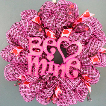 Valentines Day Be Mine Pink and Black Deco Mesh Wreath