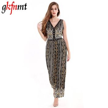 Women Jumpsuit Romper Fitness Slim Loose Romper Sexy V-Neck Print Bohemian Be Stretchy Big Size Rompers Backless Hollow Out