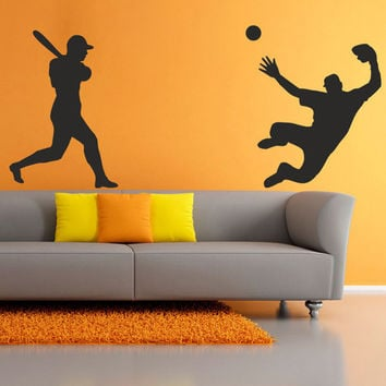 I208 Wall Decal Vinyl Sticker Art Decor Design sport baseball bat silhouette throw the ball stadium player game goal Living Room Bedroom