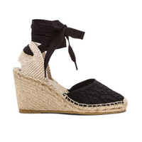 Wanda Lace Wedge in Black