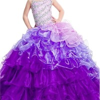 BFB Flower Girl Dress Girls Floor Length with Ruffles Organza 8