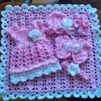 Pink newborn crochet outfit - baby dress, blanket,bolero, shoes, hat in pink and white colors