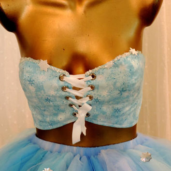 Adult Elsa frozen costume top, sexy frozen costume, ice queen top,  Corset, bandeau tank top, edc rave raver bra, gogo dancer,