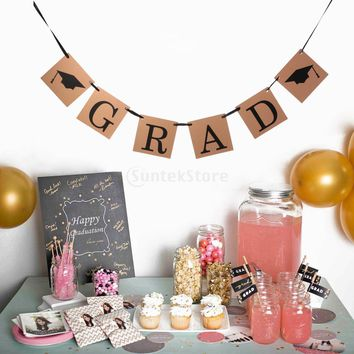 Vintage Kraft Paper GRAD Banner with Graduation Cap Party Hanging Sign Decor