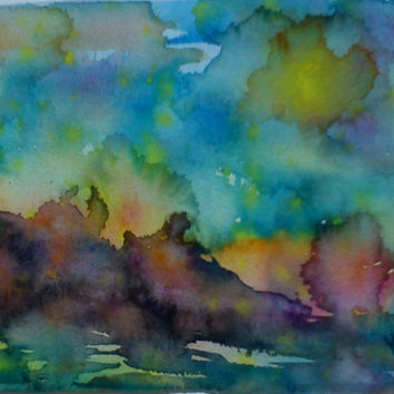 Watercolor seascape, abstract watercolor