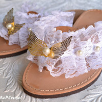 Grecial Leather Sandals Lace Pearl Wings Leather Flip Flops Hand Decorated Greek Leather Sandals Bridesmaids Sandals Wedding Accessories