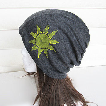 Hand Painted Oversized Beanie Hat-Grey-Baggy Hat- Head Wrap- Slouch Cap-Hippie Hat-Unisex