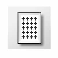 Swiss Cross pattern minimal black and white poster (from US Letter and A4 up to A0 size) interrior decor