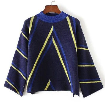 ONETOW Korean Round-neck Stripes Pattern Sweater Pullover Knit Jacket [8940803463]