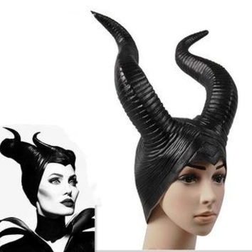 VIP 2016 2017 trendy Genuine latex maleficent horns adult women halloween party costume jolie cosplay headpiece hat -Free shipping