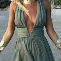 Walk The Line Olive Green Sleeveless Plunge V Neck Halter Backless Skater Circle A Line Flare Mini Dress