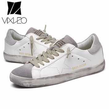 VIXLEO Unisex Golden dirty sneakers breathable unisex sport shoes Goose old shoes sport 2018 running shoes for lovers Size 36-44