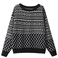Black Chevron Pattern Long Sleeve Knitted Sweater