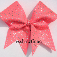 Coral Rhinestone Cheer Bow