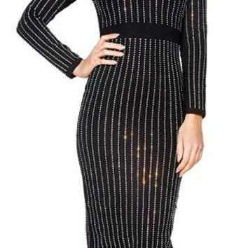 Perfect Illusion Black Silver Crystal Vertical Stripe Long Sleeve Maxi Dress