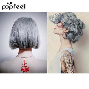 popfeel 1Pc 100Ml Fashion Light Gray Color Natural Permanent Super Hair Dye Cream smt 79