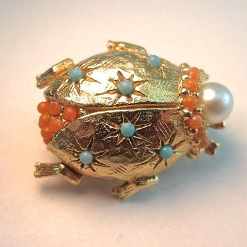 CINER Unsigned Ladybug Pin Brooch, Turquoise Coral Beads, Faux Pearl, Gold Plated, Vintage