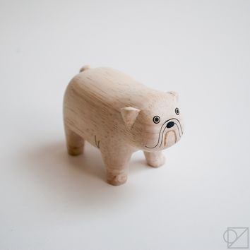 T-lab Handcarved Wooden French Bull Dog