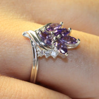 Purple Flower Ring on Hand - Beautiful Promise Rings