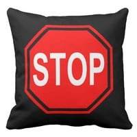 COOL STOP / START STREET SIGN CUSHION -RED BLACK