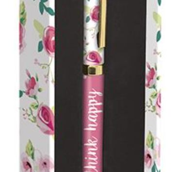 Think Happy Floral Pen in Pink and Gold