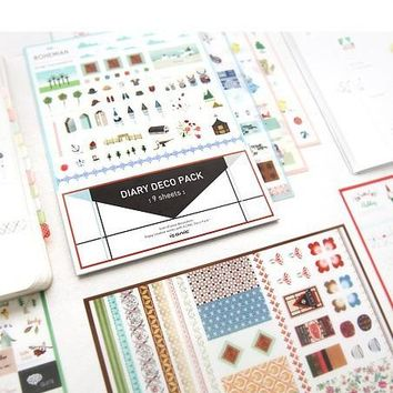 9 sheets/1set Cute Iconic DIARY DECO PACK Kawaii Planner stickers/note sticker/message sticker/papelaria/stationery