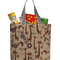 ZLYC Canvas Reusable Shopping Bag Grocery Bag Giraffe