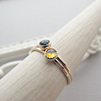 Citrine Ring, Onyx Ring, Solid 14k Ring, 14kt Gold Ring, Simple Engagement Rings, 14kt Gold Jewelry, 14kt Gold Jewelry, GOLD RING, Ring Set