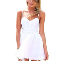 White Mini Summer Dress with Cami Strap