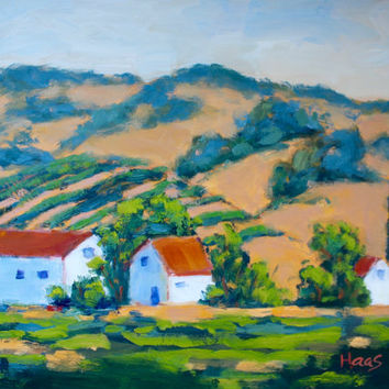 BACKROAD VINES - 9 x 12 - Suisun Valley, Plein Air - Original Oil Painting - Golden Hills, California - Landscape - Home Decor - Red Roof