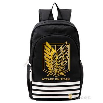 Cool Attack on Titan High Q Anime no  Scouting oxford  School  gold print  Japan Anime Cosplay Backpack  for Students AT_90_11