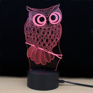 Shining Td182 Led Lamp 7 Color Changing LED 3D Lamp Owl Touch Atmosphere Night Light
