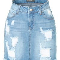 LE3NO Womens Stretchy Vintage Ripped Frayed Denim Skirt with Pockets