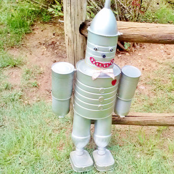 Wizard Of Oz Tin Can Man Silver Handmade Hand Painted Fun Home Garden Yard Porch Decor Wind Ornament Statue Figure Lg Metal Fall Halloween