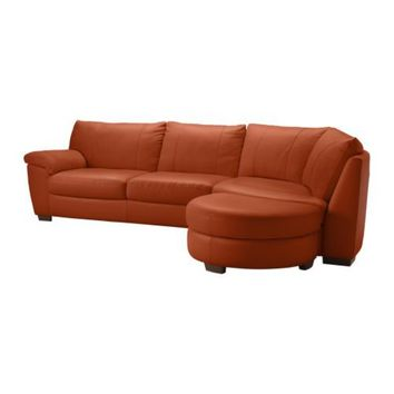 VRETA Corner sofa with end unit right - Mjuk red - IKEA