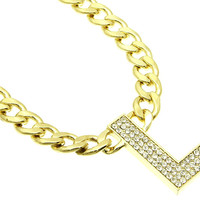 NECKLACE / LINK / METALCHAIN / CRYSTAL STONE PAVED / LETTER L / 1 3/4 INCH DROP / 18 INCH LONG / NICKEL AND LEAD COMPLIANT