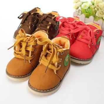 ONETOW New Baby Girls Boys Kids Martin Snow Boots Children Cotton Oxfords Shoes Winter = 1930